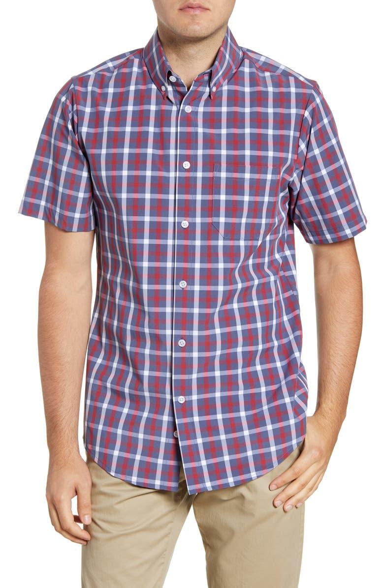MIZZEN+MAIN Ripley Check Short Sleeve Button-Down Performance Shirt, Main, color, BLUE