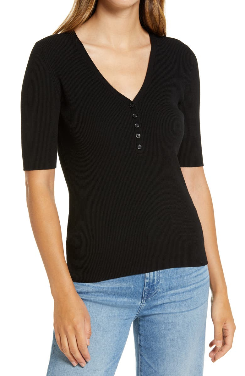 HALOGEN<SUP>®</SUP> Rib Henley Sweater, Main, color, BLACK
