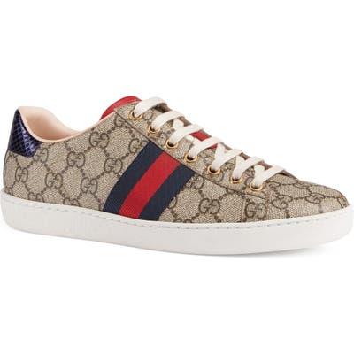 Gucci New Ace Gg Supreme Sneaker, Beige