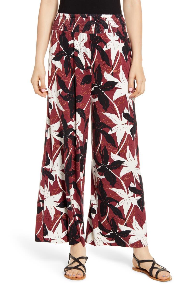 BP. Floral Print Smocked Waist Wide Leg Pants, Main, color, 601