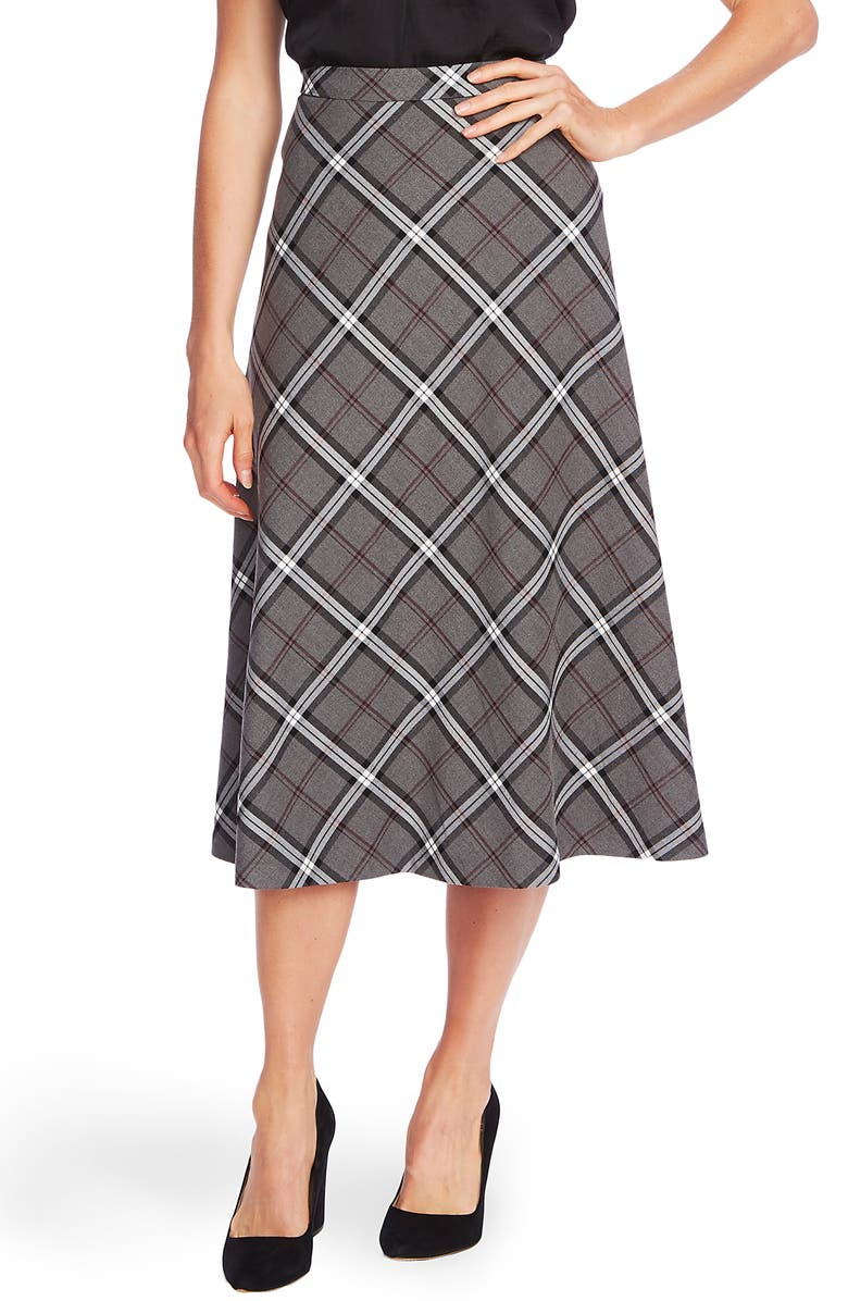 VINCE CAMUTO Bold Plaid Skirt, Main, color, MED HEATHER GREY