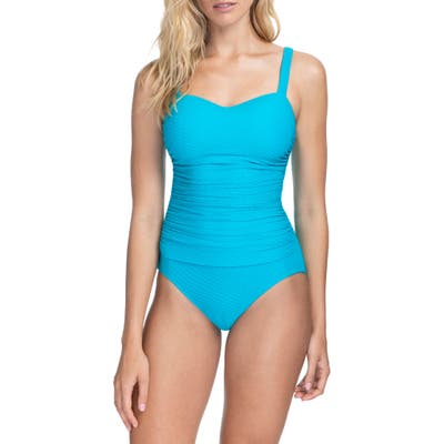 Profile By Gottex Ribbons D-Cup One-Piece Swimsuit, Blue