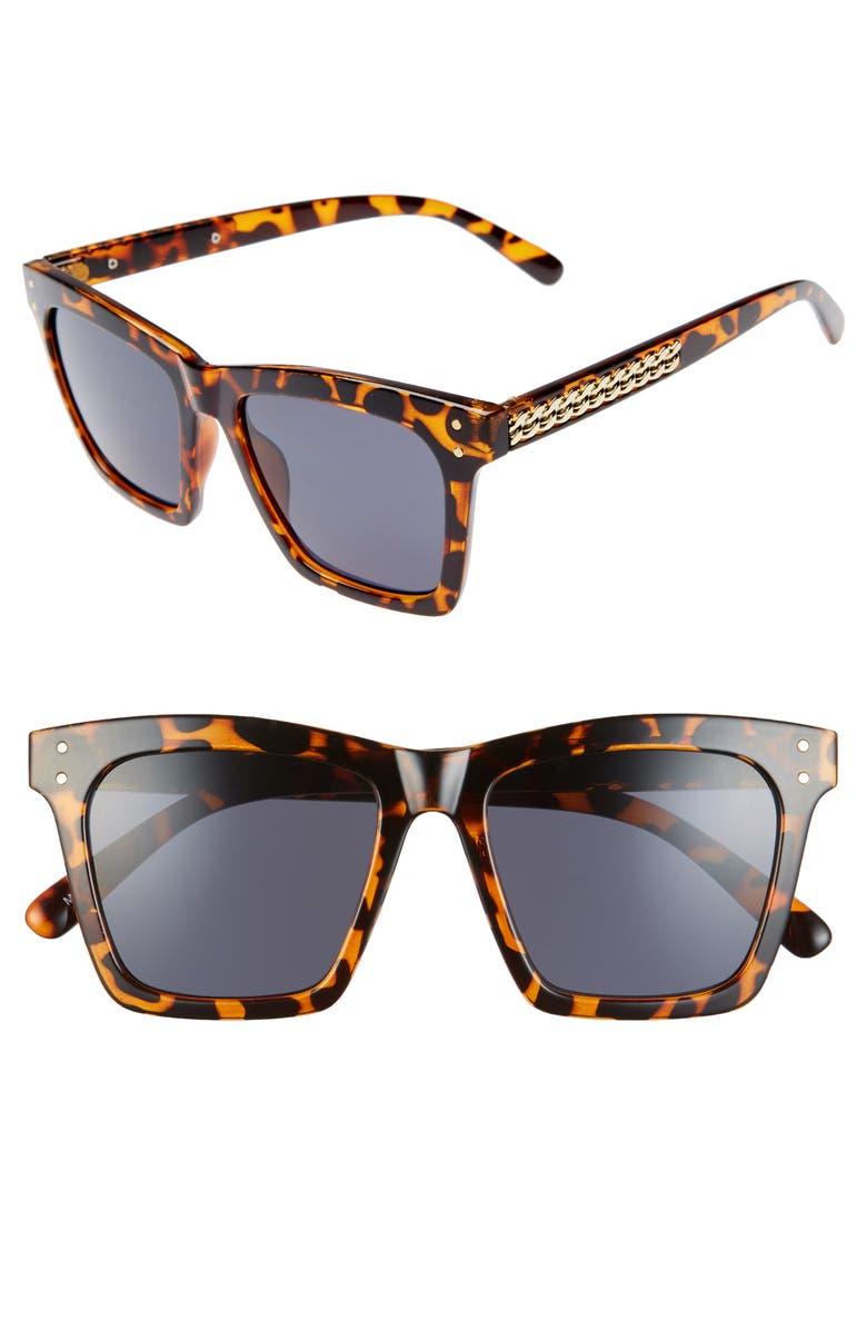 BP. 52mm Square Sunglasses, Main, color, TORTOISE/ BLACK