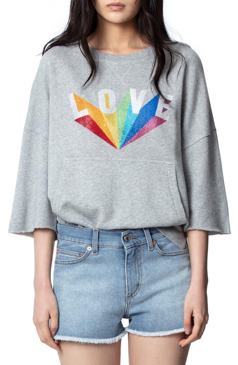 ZADIG & VOLTAIRE Kaly Lobe Rainbow Love Sweatshirt, Main, color, 078