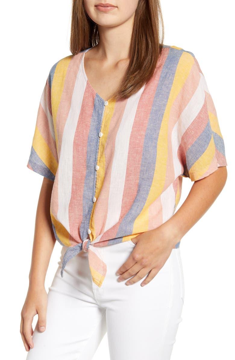BEACHLUNCHLOUNGE Kelli Stripe Tie Front Linen & Cotton Blouse, Main, color, HAPPY STRIPE