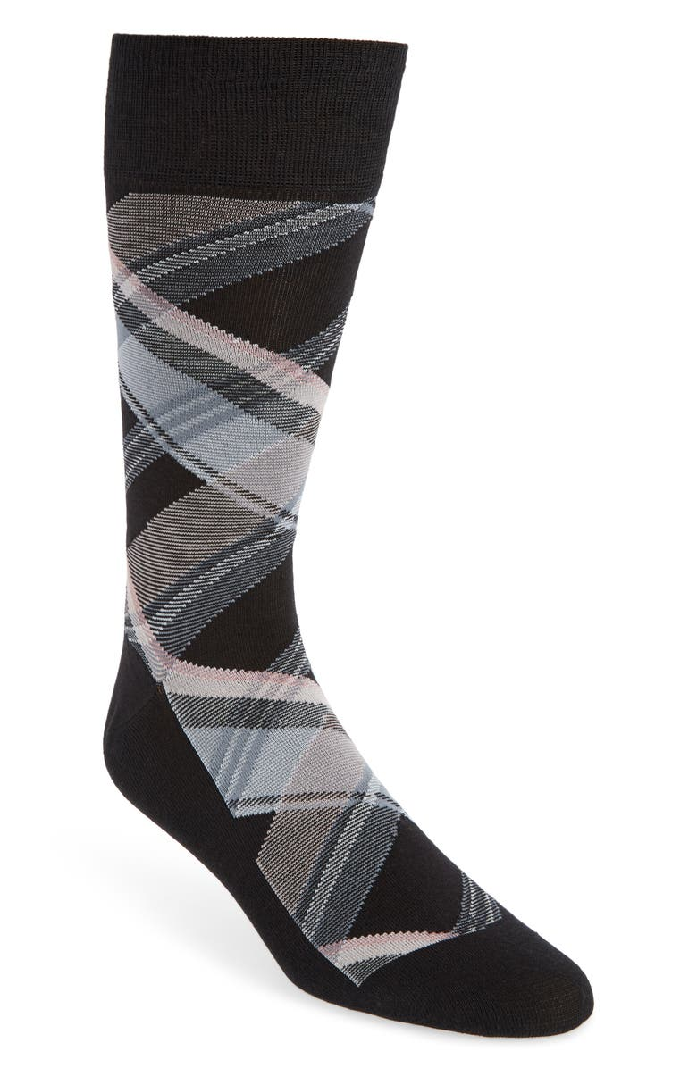 COLE HAAN Plaid Socks, Main, color, BLACK