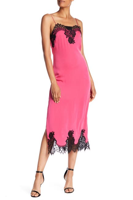Image of alice + olivia Luna Lace Trim Stretch Silk Blend Slip Dress