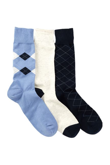 Image of Cole Haan Argyle & Lines Crew Socks - Pack of 3