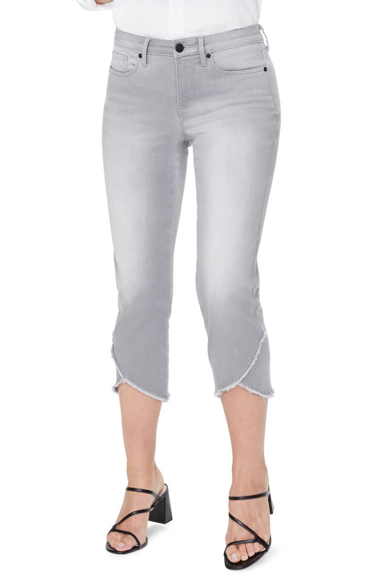 NYDJ Crisscross Fray Hem Capri Jeans, Main, color, SHALE