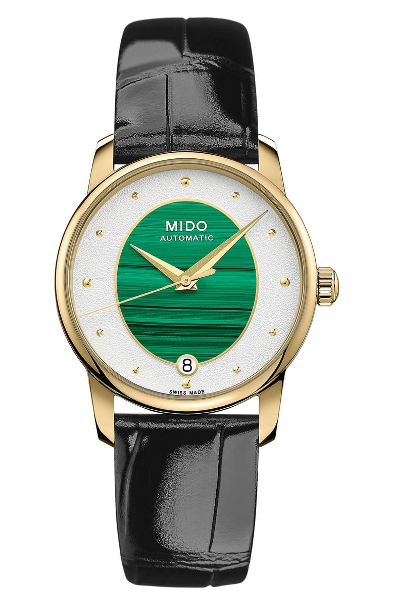 MIDO Baroncelli Automatic Leather Strap Watch, 33mm, Main, color, BLACK/ GREEN/ GOLD