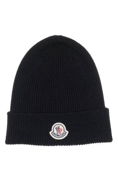 Moncler Solid Virgin Wool Beanie - Black