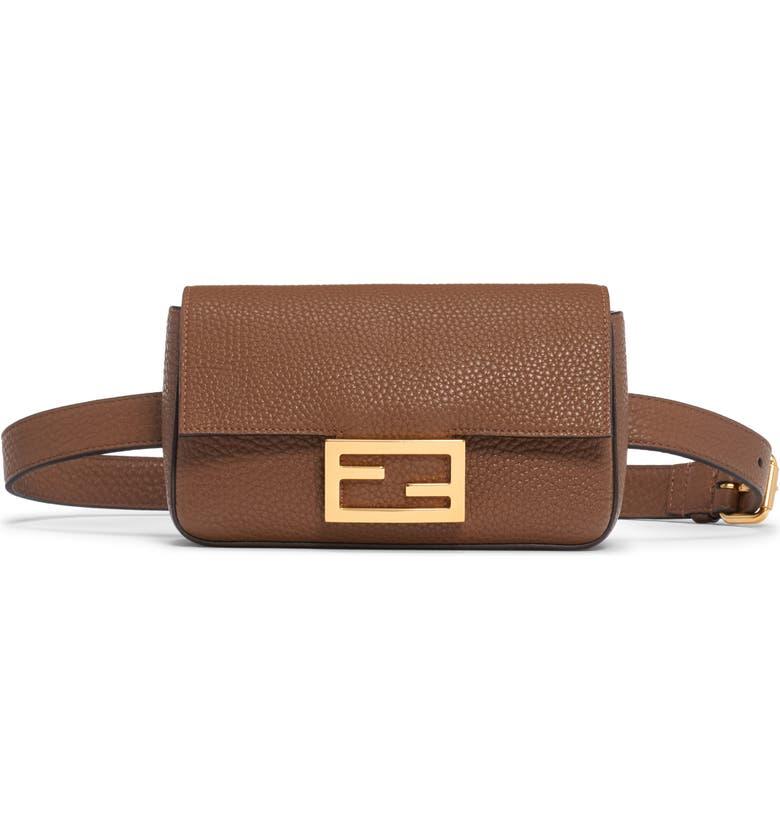 FENDI Leather Belt Bag, Main, color, MUD/ VIBRATO GOLD