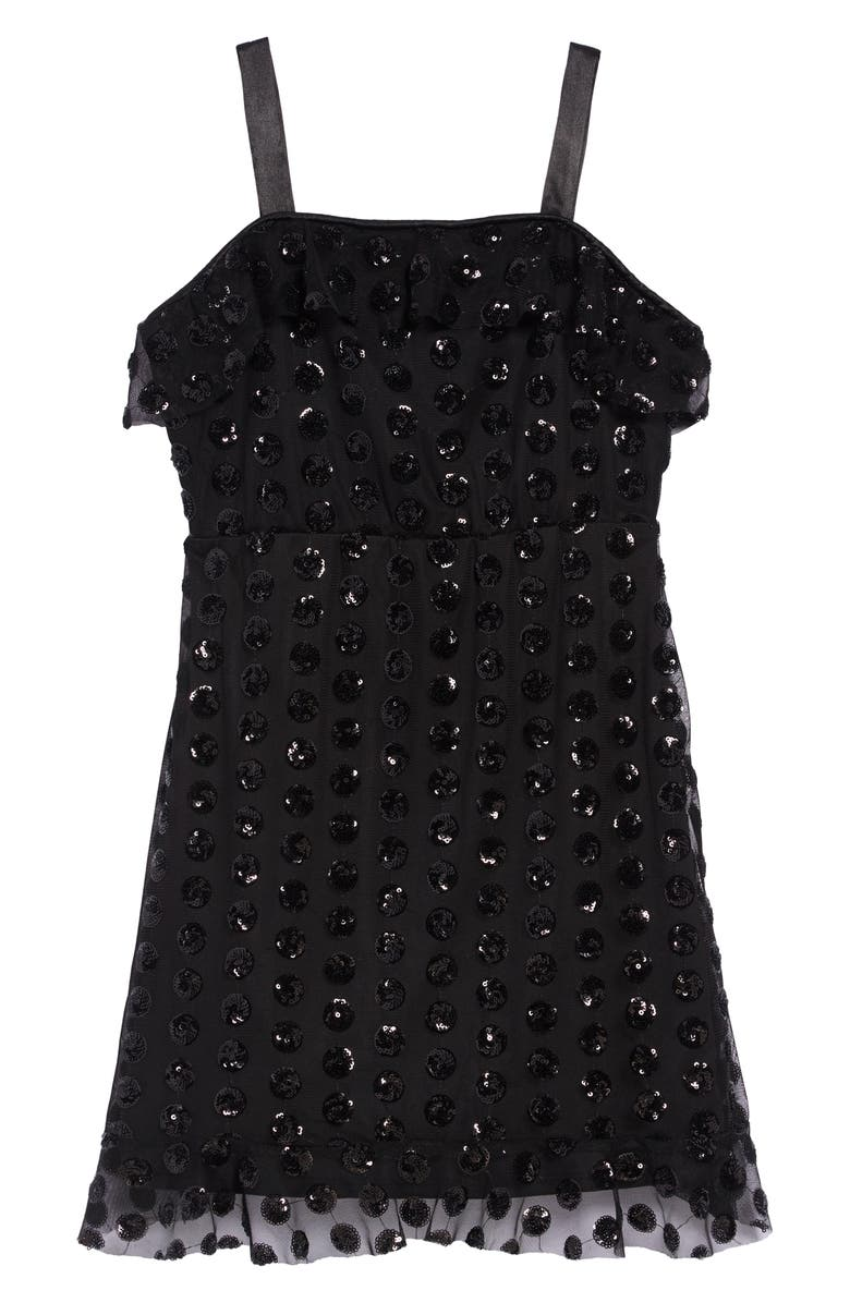 TRIXXI Sequin Ruffle Dress, Main, color, 001