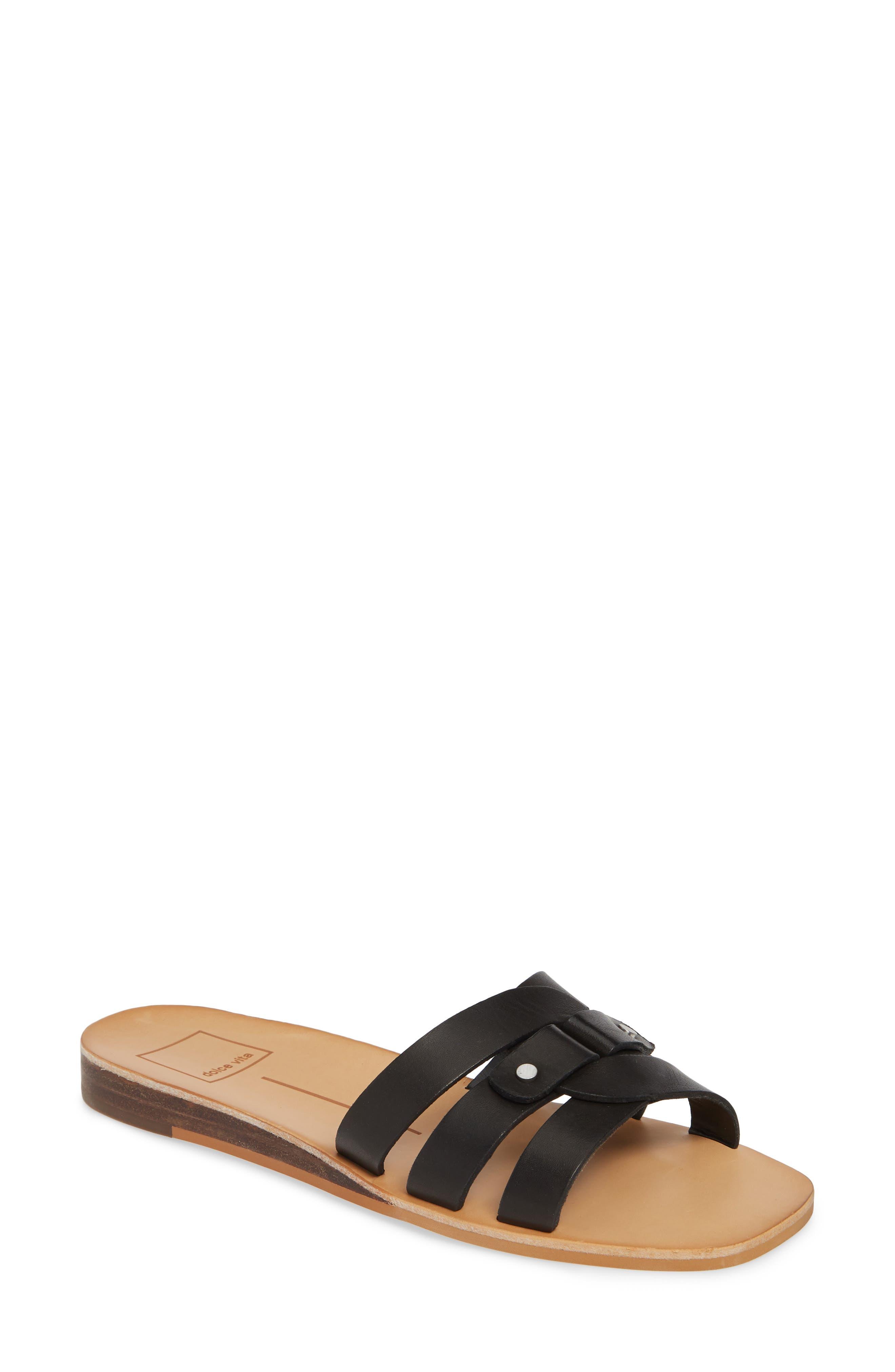 ,                             Cait Slide Sandal,                             Main thumbnail 1, color,                             BLACK LEATHER