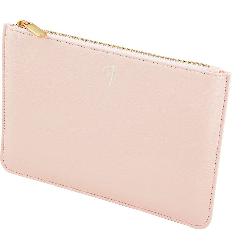 CATHY'S CONCEPTS Personalized Faux Leather Pouch, Main, color, BLUSH PINK F
