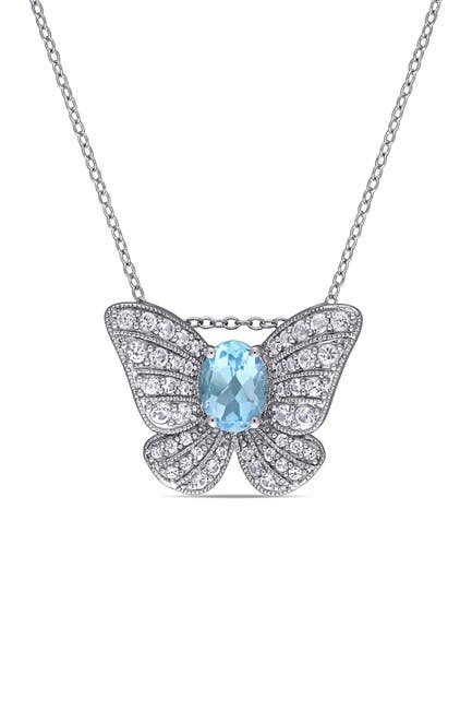 Image of Delmar Sterling Silver Blue Topaz & Pave White Sapphire Accent Butterfly Pendant Necklace