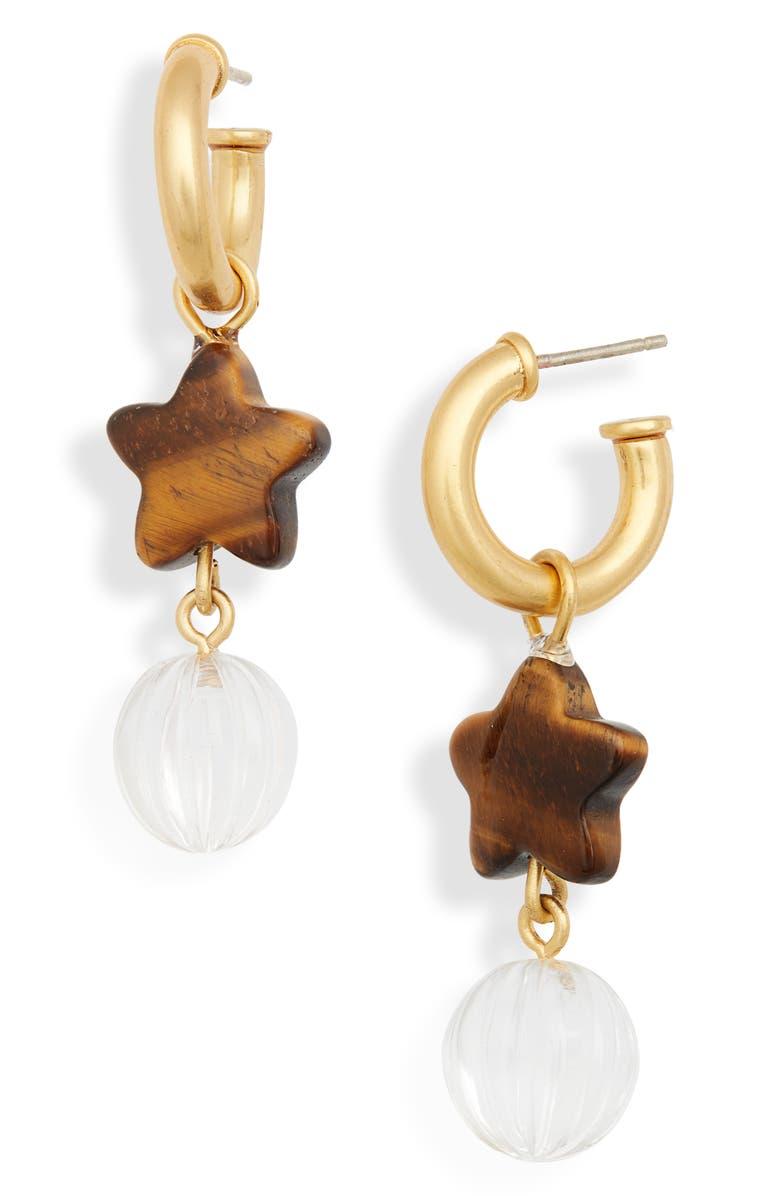 MADEWELL Star Stack Charm Hoop Earrings, Main, color, VTG GOLD