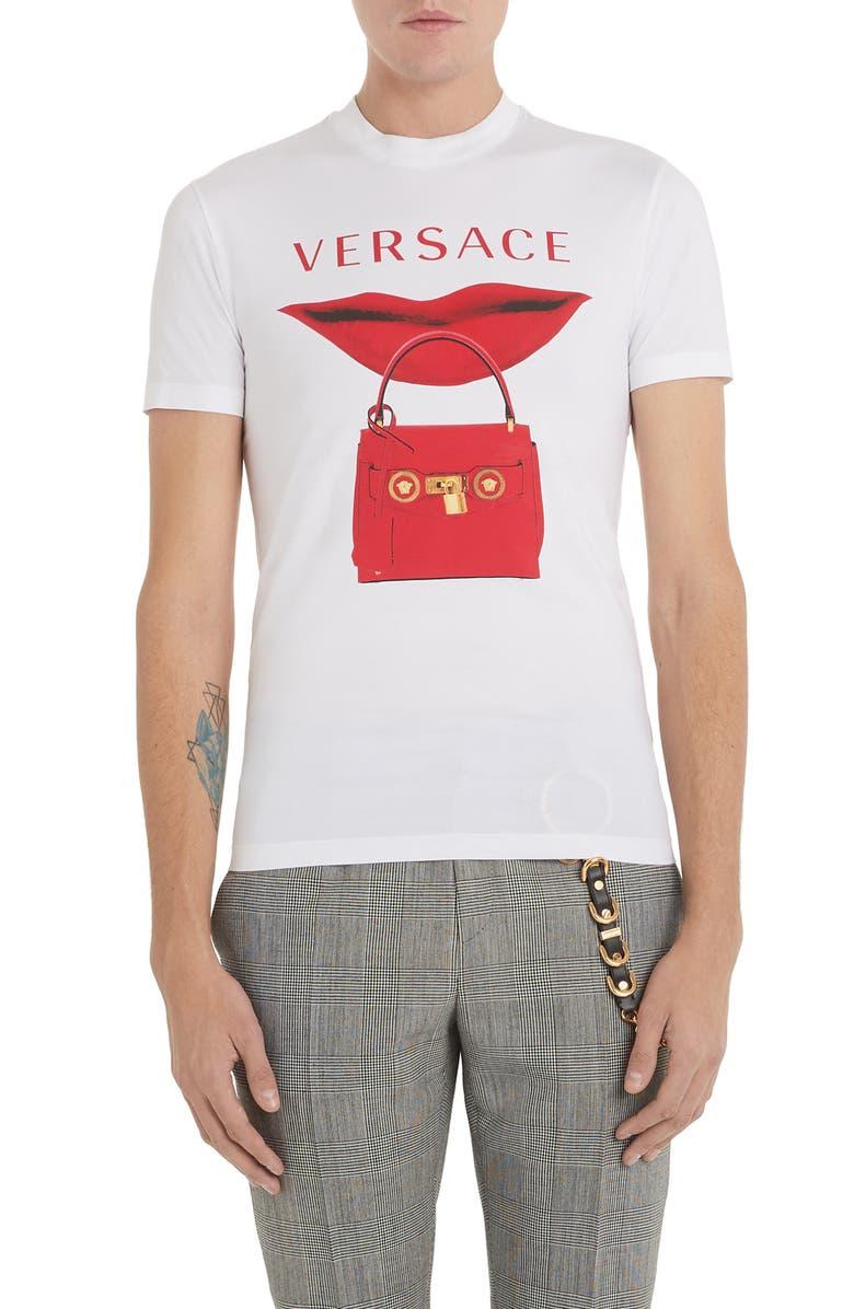 VERSACE Lip Logo Graphic T-Shirt, Main, color, OPTICAL WHITE