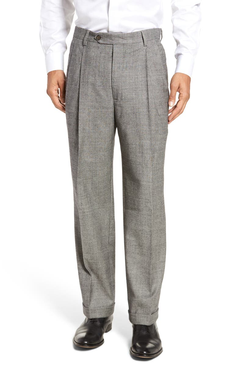 BERLE Pleated Classic Fit Stretch Plaid Wool Trousers, Main, color, BLACK/ WHITE