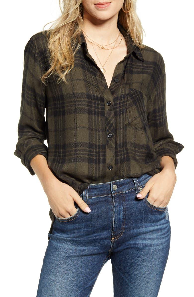 RAILS Hunter Plaid Shirt, Main, color, OLIVE JET
