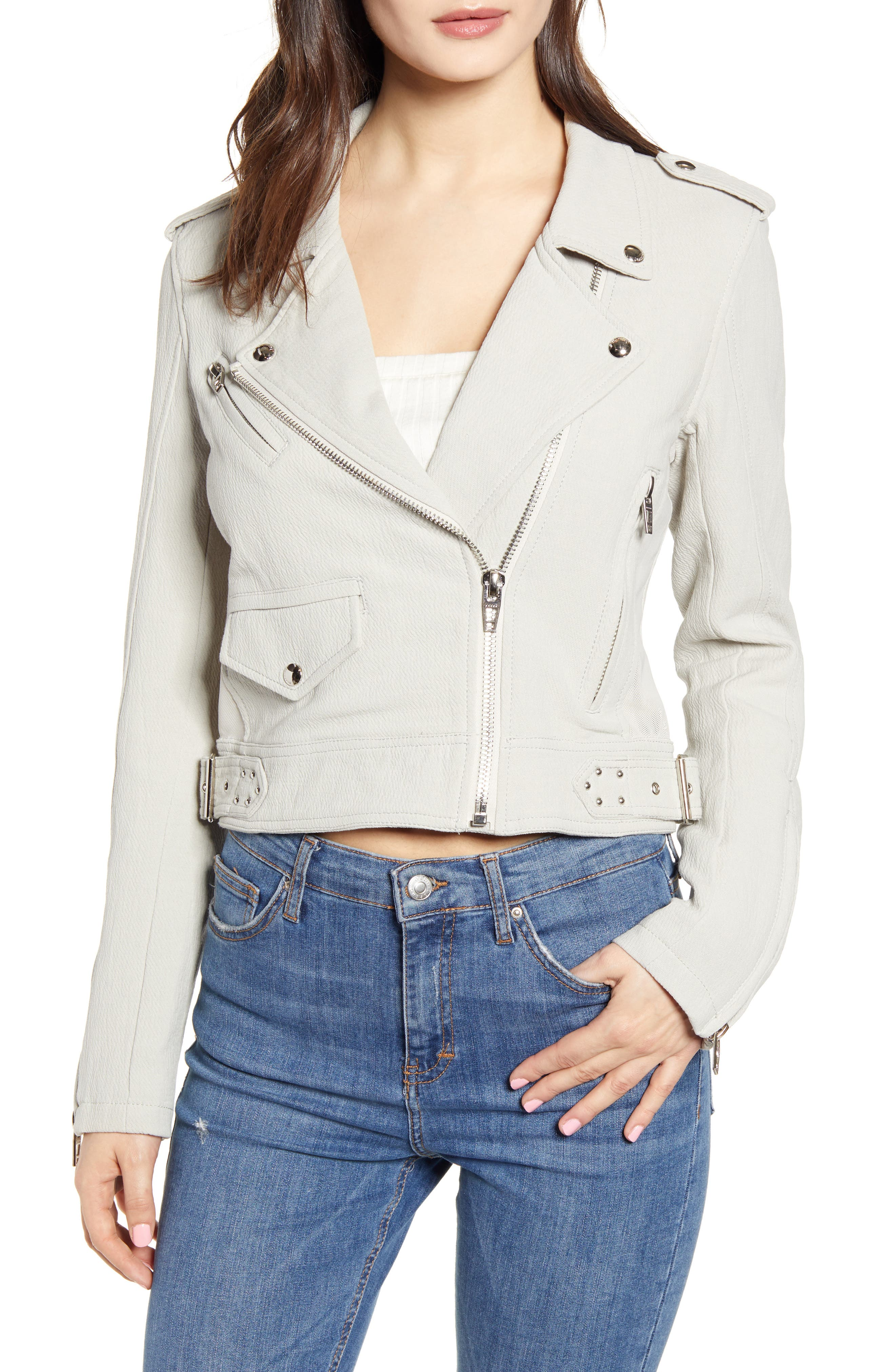 ,                             Textured Cotton Moto Jacket,                             Alternate thumbnail 5, color,                             LIGHT GREY