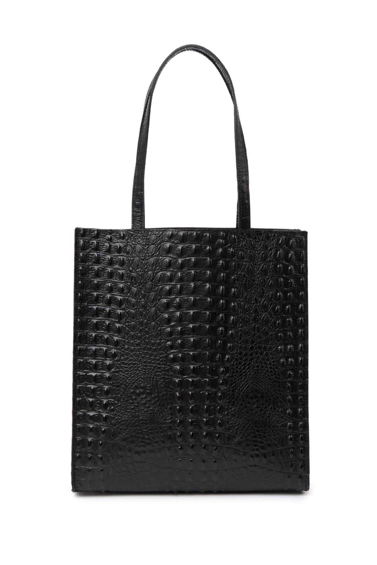Image of Giulia Massari Embossed Leather Top Handle Tote