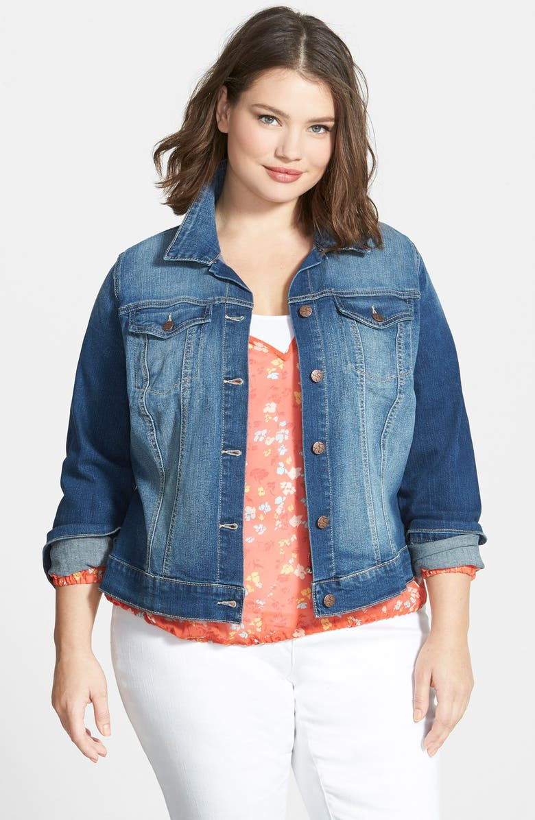 JESSICA SIMPSON 'Pixie' Denim Jacket, Main, color, 060