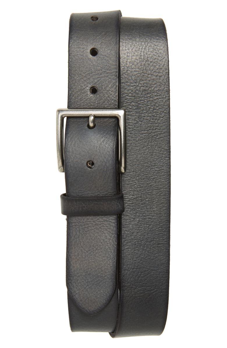 FRYE Campus Leather Belt, Main, color, BLACK