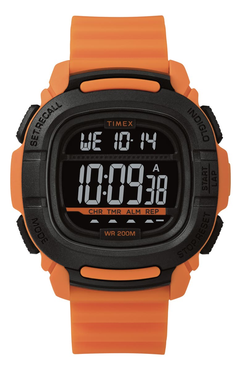 TIMEX<SUP>®</SUP> Boost Shock Resistant Digital Silicone Strap Watch, 47mm, Main, color, ORANGE/ BLACK