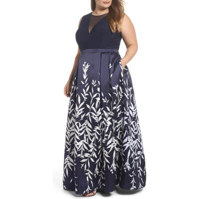 Plus Size Morgan & Co. Mikado Illusion V Neck Gown, Blue