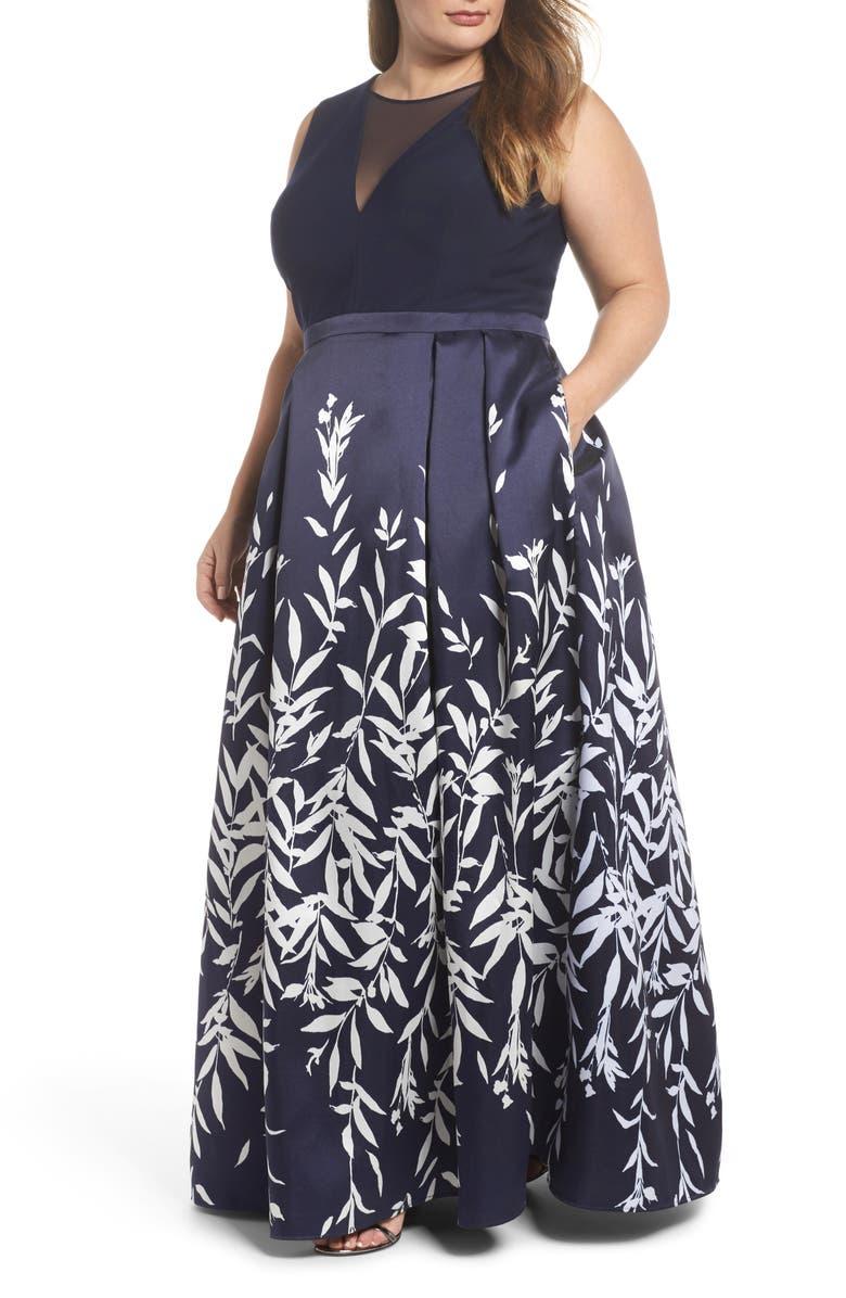 MORGAN & CO. Mikado Illusion V Neck Gown, Main, color, NAVY/ WHITE