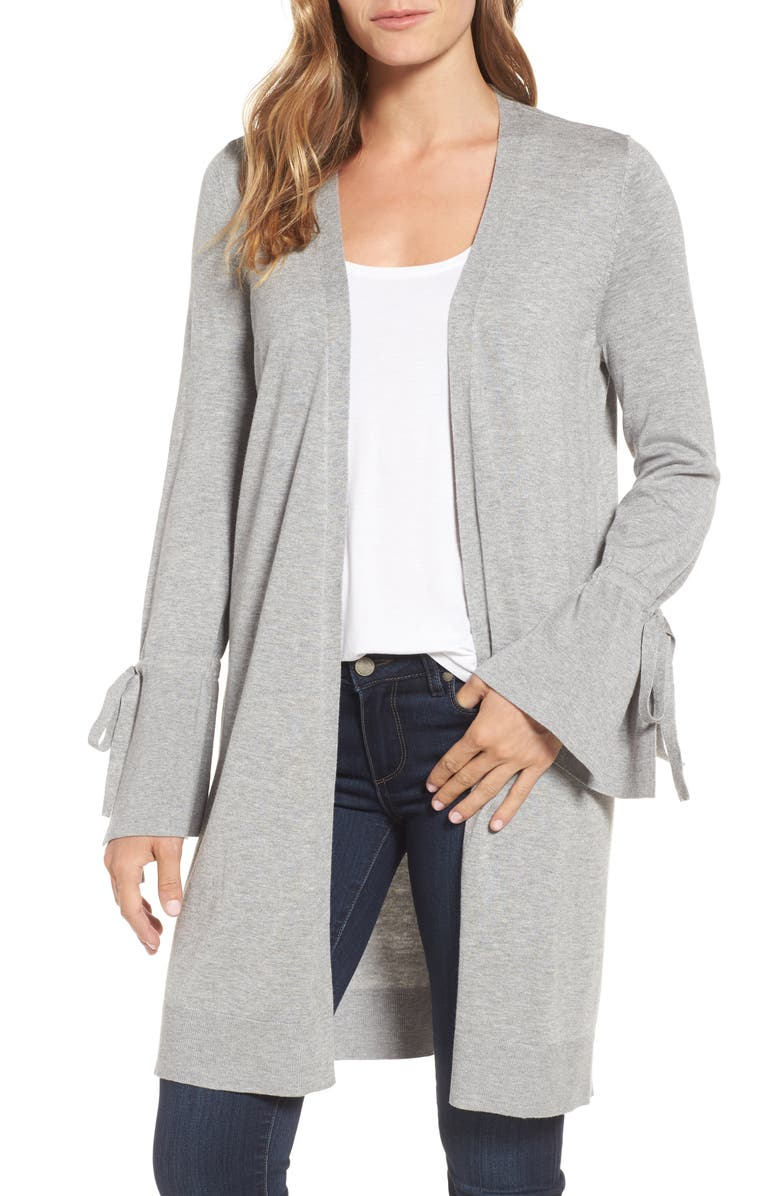 HALOGEN<SUP>®</SUP> Lightweight Tie Sleeve Cardigan, Main, color, 030