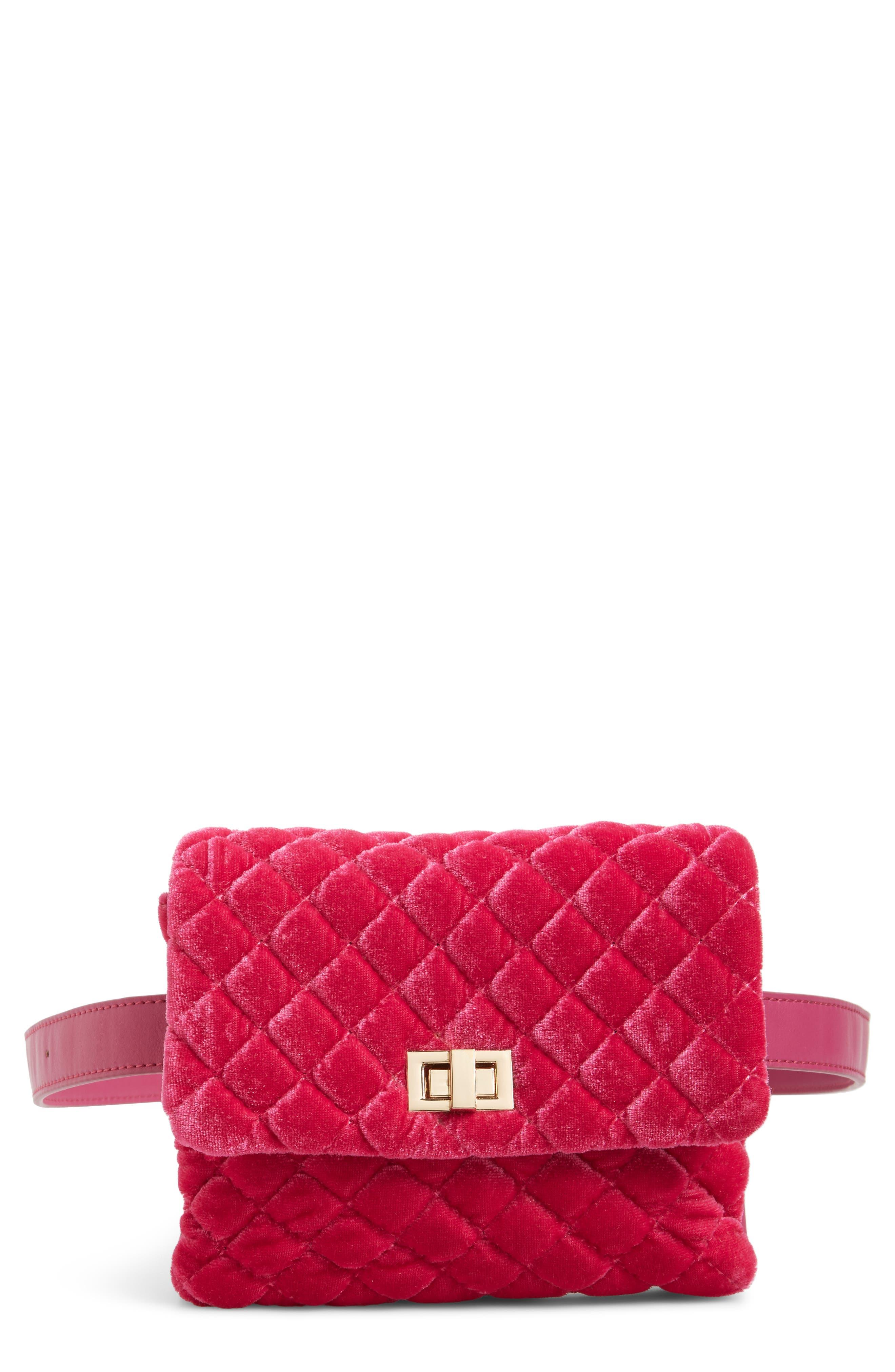 ,                             Nikki Quilted Velvet Belt Bag,                             Main thumbnail 10, color,                             650
