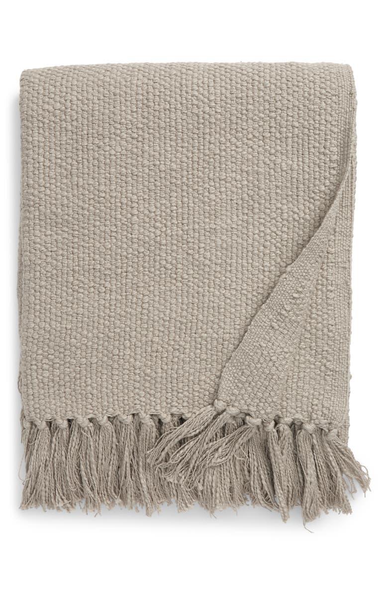 NORDSTROM Woven Cotton Throw Blanket, Main, color, GREEN PEBBLE