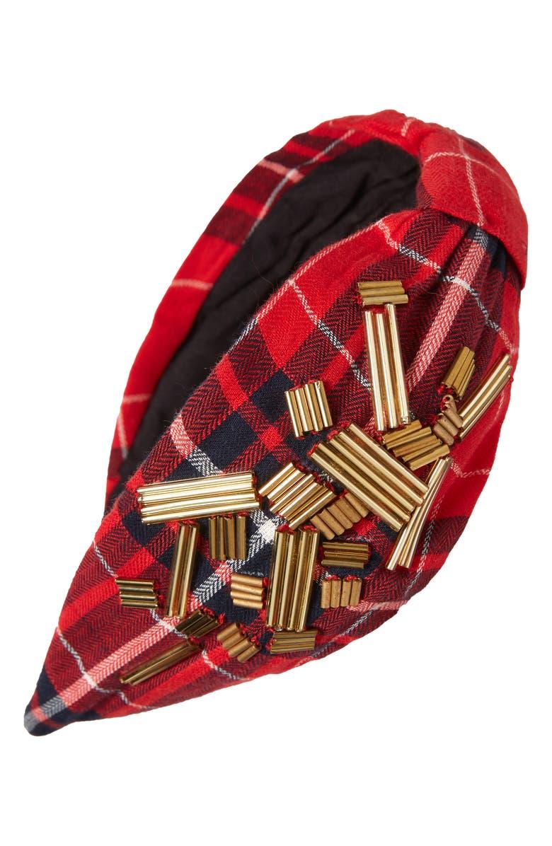 NAMJOSH Beaded Red Plaid Headband, Main, color, 600