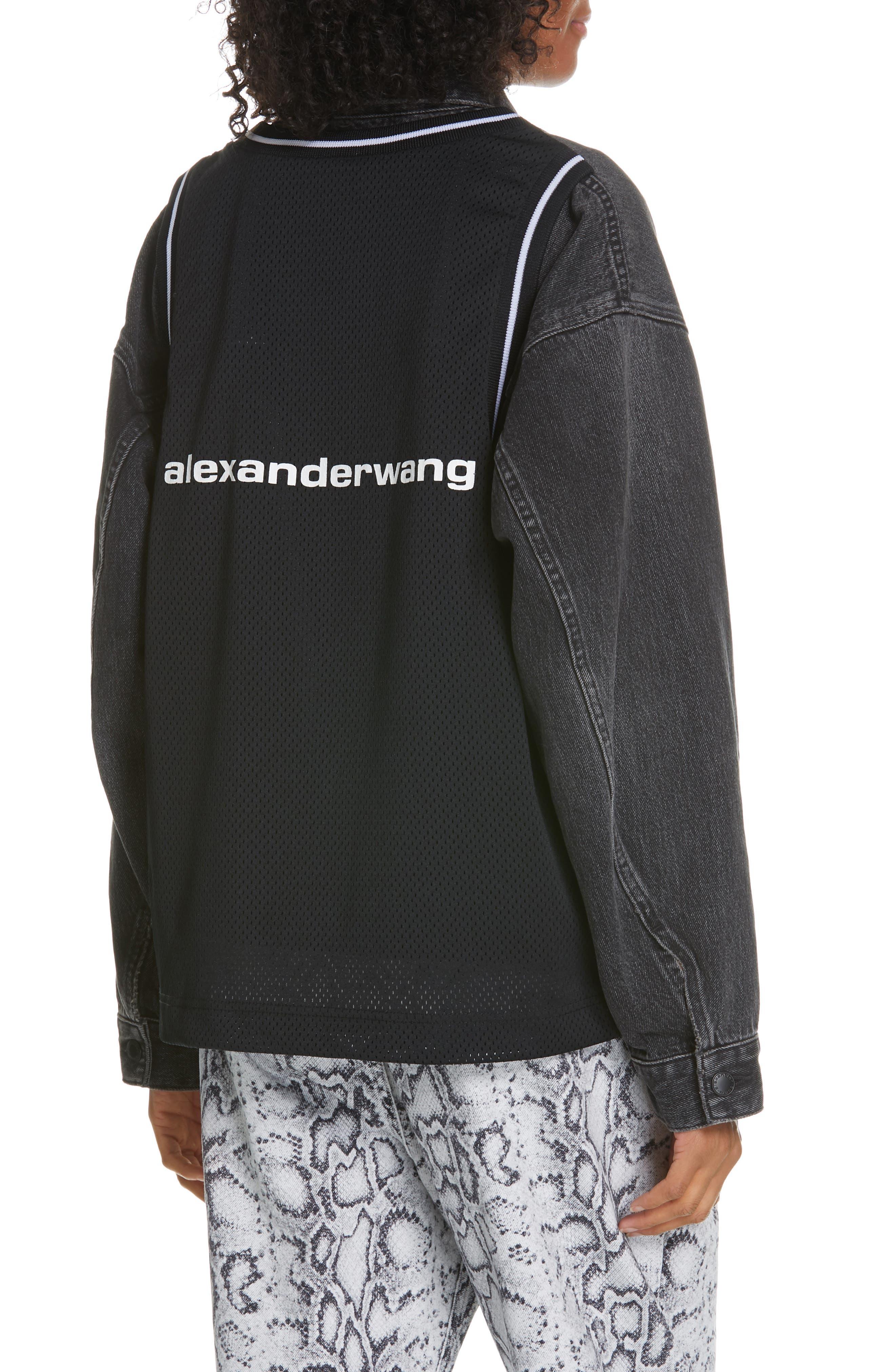,                             Denim x Alexander Wang Game Mesh Back Denim Jacket,                             Alternate thumbnail 2, color,                             GREY AGED