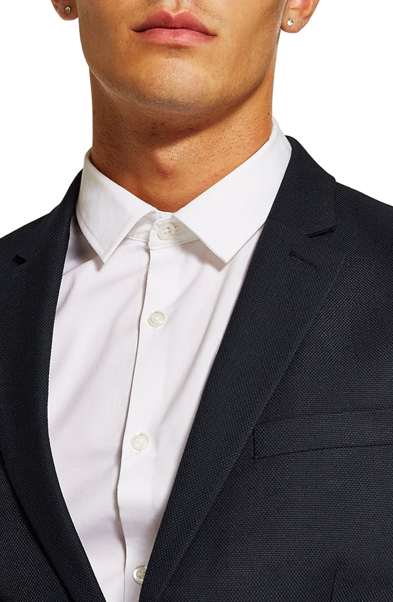 ,                             Skinny Fit Textured Suit Jacket,                             Alternate thumbnail 4, color,                             DARK BLUE