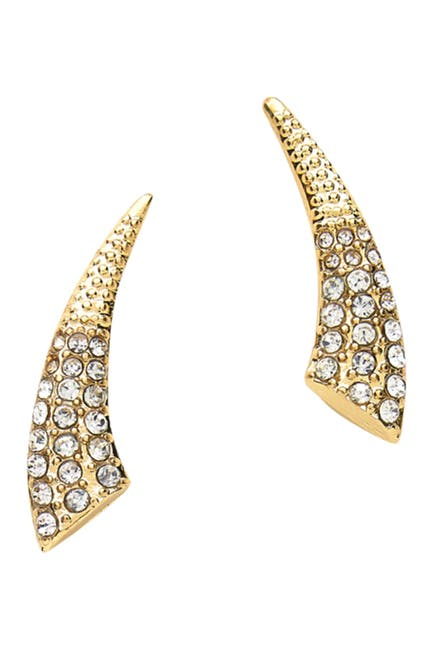 Image of Sterling Forever 14K Gold Plated Brass Pave Tusk CZ Ear Crawlers
