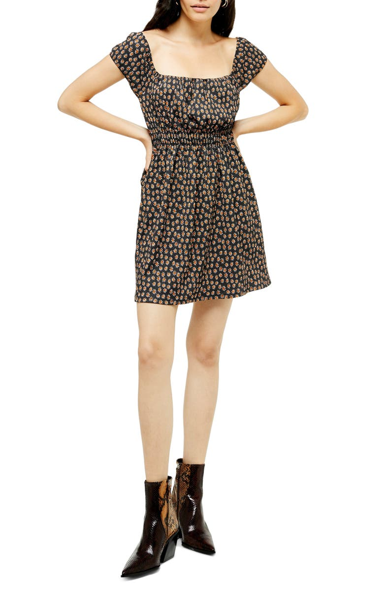 TOPSHOP Print Minidress, Main, color, BLACK MULTI