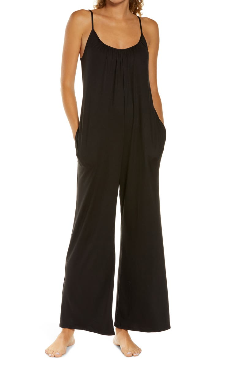 SOCIALITE Sleeveless Wide Leg Jumpsuit, Main, color, SOLID BLACK
