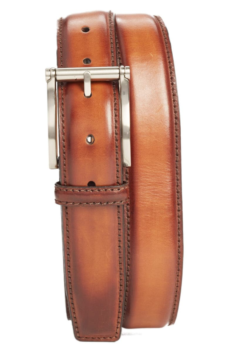 MAGNANNI Carbon Leather Belt, Main, color, COGNAC