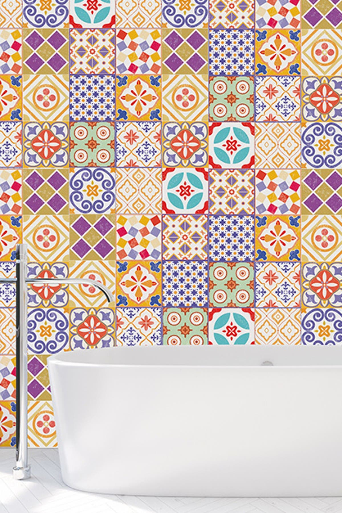 Image of WalPlus Colourful Moroccan Tiles Wall Stickers