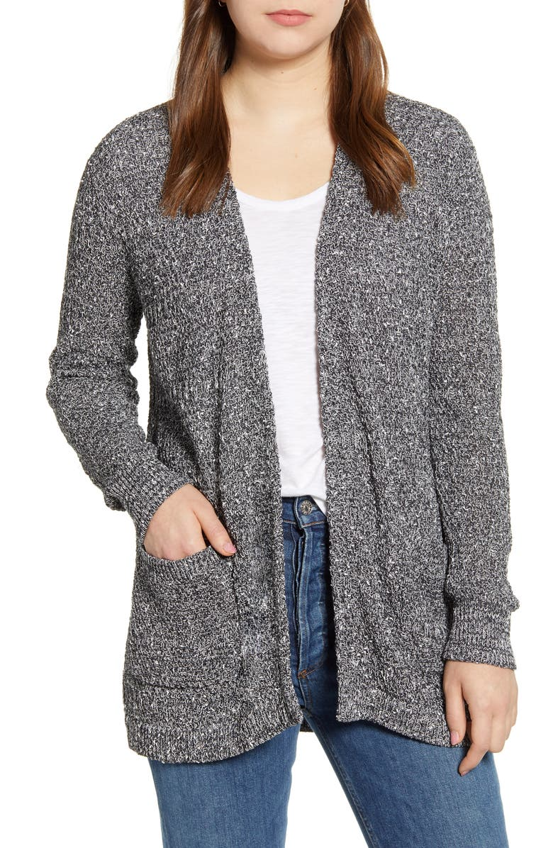 CASLON<SUP>®</SUP> Marled Cardigan Sweater, Main, color, NAVY- IVORY MARL