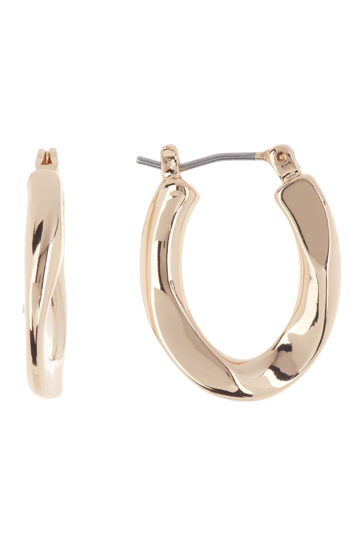 Image of Rebecca Minkoff Gold Plated Brass Twisted Mini Hoop Earrings