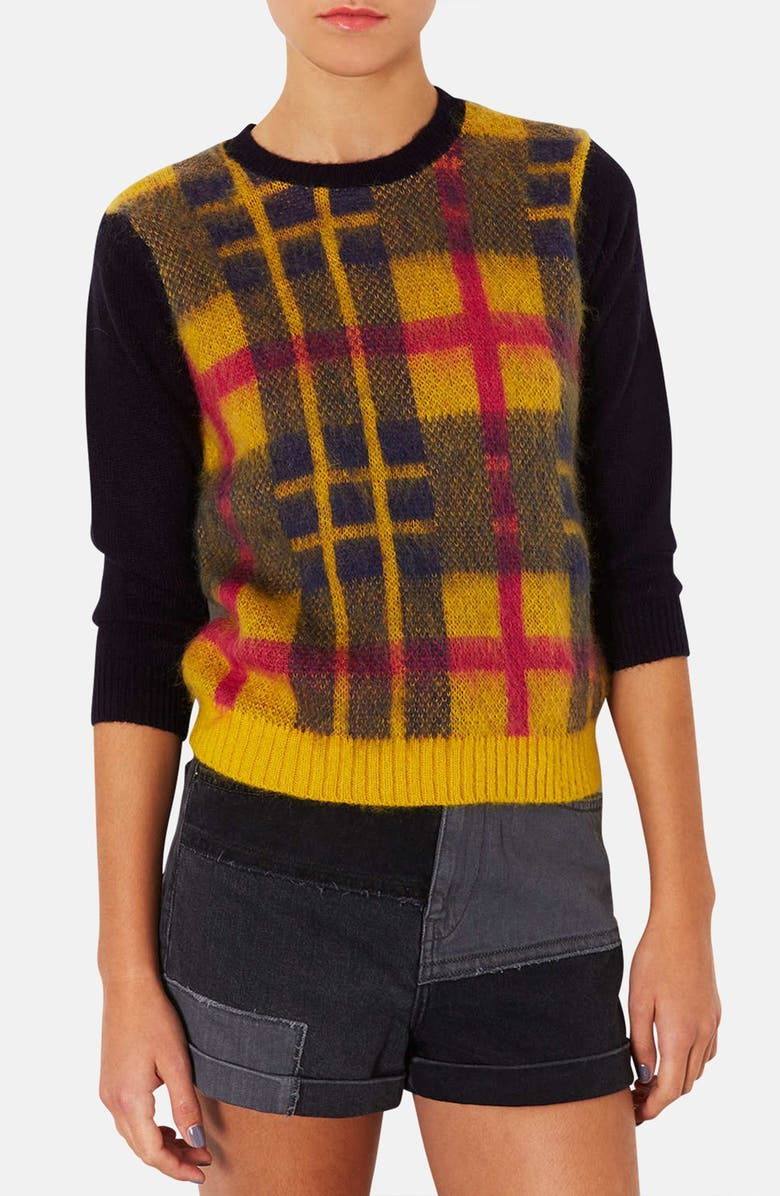 TOPSHOP Plaid Front Sweater, Main, color, 700