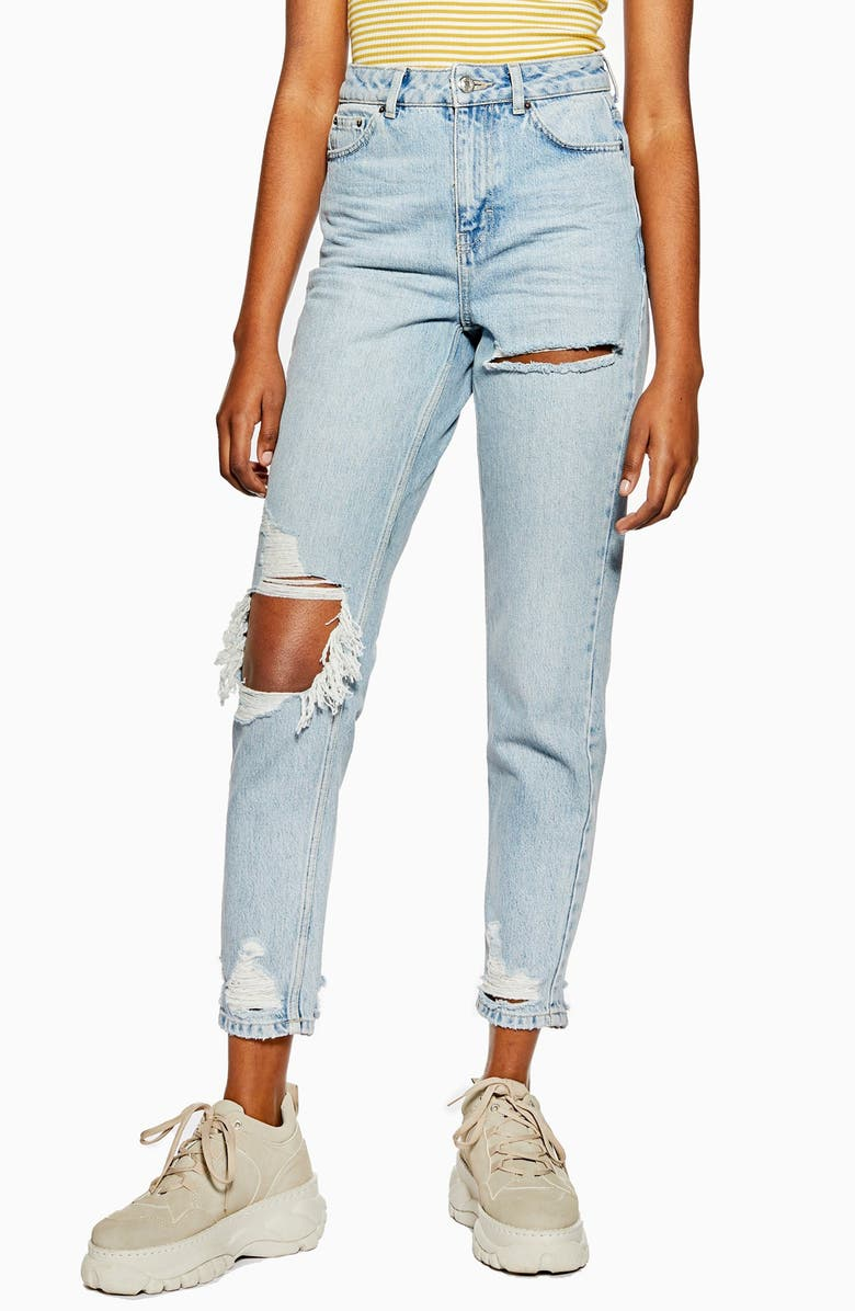 TOPSHOP Willow Rip Moto Mom Jeans, Main, color, BLEACH