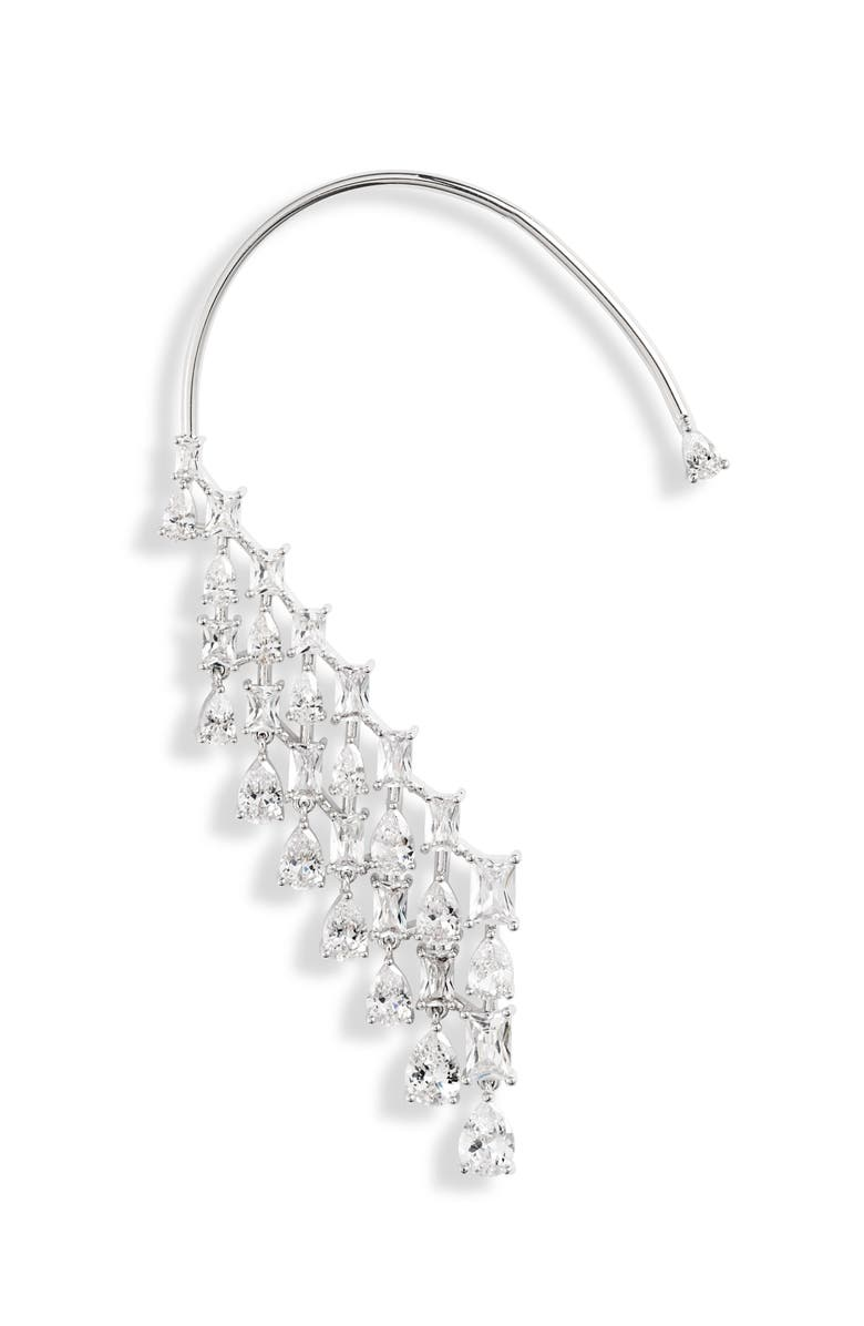 NORDSTROM Waterfall Wraparound Ear Cuff, Main, color, CLEAR- SILVER