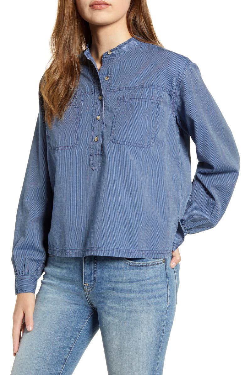 LUCKY BRAND Edie Stripe Cotton Popover Shirt, Main, color, 460
