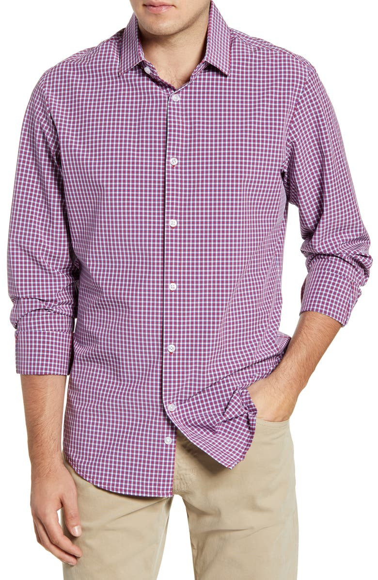MIZZEN+MAIN Holden Mini Check Button-Up Performance Shirt, Main, color, RED