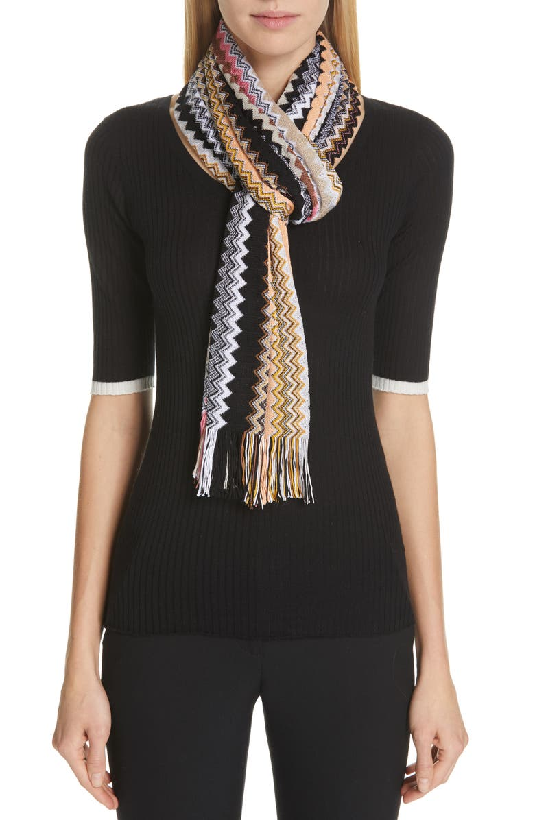 MISSONI Zigzag Fringe Scarf, Main, color, 250